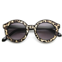 Popular Indie Block Cut Pattern Round Women's Sunglasses 9157