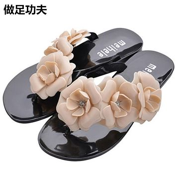 New Fashion Summer Women Sandals Flat Bling Bling Sandals Slippers For Women  Solid Slip on Casual Slides Plus Size
