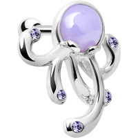 Silver 925 Purple Gem Floating Octopus Cartilage Tragus Earring | Body Candy Body Jewelry