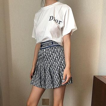Dior new shirt short sleeve female chest letter printed T-shirt + short skirt two-piece suit