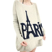Little Hand Paris Eiffel Tower Design Casual Blouses Shirts Tops Grey