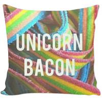 "Candy strips ""unicorn bacon"" pillow"
