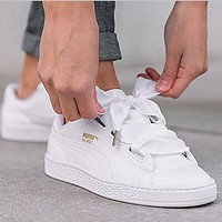 PUMA BOW Trending Fashion Casual Sports Shoes knot White