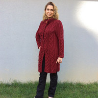 Hand knitted Vine Red Boyfriend Coat Cardigan, Cable Knitted Long Overcoat for Winter and Spring days Made to Order Outwear or Outerwear
