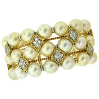 Three-Row Cultured Pearl Diamond Floret 18 Karat Yellow Gold Bracelet Cuff