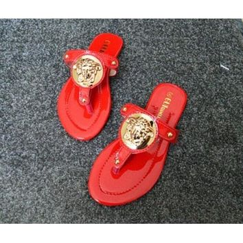 VERSACE Stylish Women Personality Flat Shoes Summer Roman Toe Sandals Slippers Shoe Red