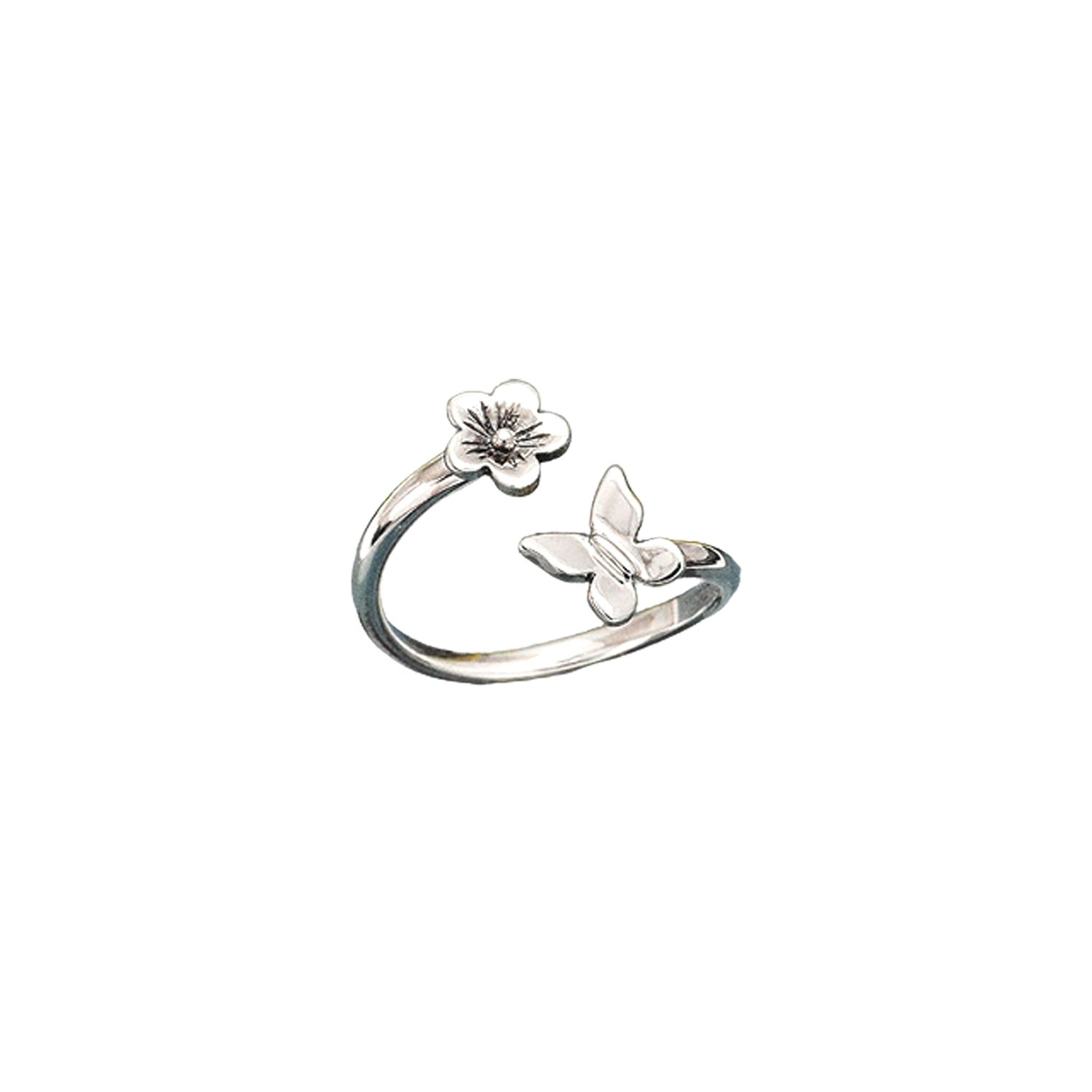 Image of Butterfly and Flower Adjustable Ring