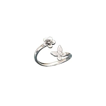Butterfly and Flower Adjustable Ring