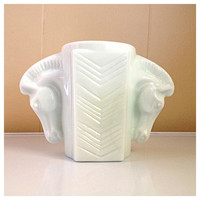 vintage Macbeth Evans ivory milk glass horse handled shaving mug Art Deco