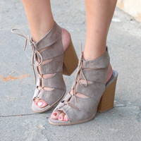 Barnes Lace Up Strappy Heels {Taupe}