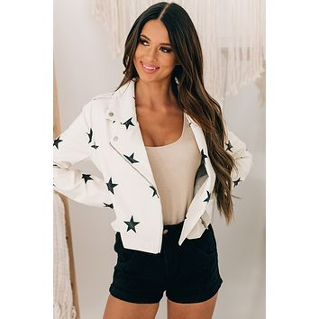 Someone Special Star Printed Faux Leather Jacket (White)
