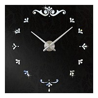 Mirror Wall Clock Super Large Size DIY Creative 3D   silver