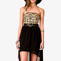 Strapless Tribal Print Dress w/ Skinny Belt