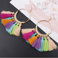 Tassel earrings large circle earrings accessories