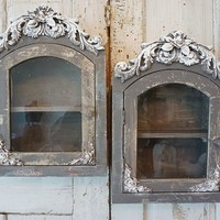 Grey ornate display shelf, distressed wood and glass showcase, set of 2