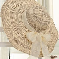 Casual Striped Bowknot Beach Large Brimmed Hat
