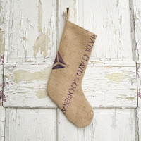 Rustic Christmas Stocking made from Recycled Burlap Coffee Bags, Rustic Modern Industrial
