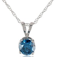"""10k White Gold and Blue Diamond Solitaire Pendant Necklace (1/2 cttw, I-J Color, I2-I3 Clarity), 18"""""""