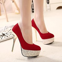 Sequins Round Toe Platform Super High Stiletto Heels Prom Shoes