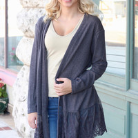 Lace Trim Ribbed Cardigan {Charcoal}