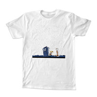 calvin and hobbes night star tardis For T-shirt Unisex Adults size S-2XL Black and White