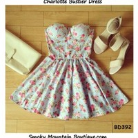 Charlotte Floral Bustier Dress with Adjustable Straps (Light Blue with Pink Floral Pattern) - Size XS/S/M BD 391 - Smoky Mountain Boutique