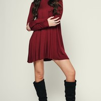 Don't Mock Me Turtle Neck Dress (Burgundy)