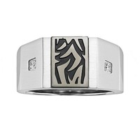 AXL by Triton Stainless Steel Diamond Accent Tattoo Ring - Men (Black)