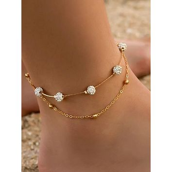 Women's Ankle Bracelet Layered Creative Vintage Korean Fashion Cute Boho Anklet Jewelry Gold / Silver For Daily