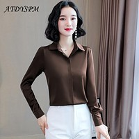 2021 Spring Hidden Breasted Women Silk Shirt Casual Female Blouse Tops Long Sleeve Lapel Shirts OL Style Women Satin Blouses