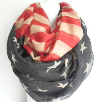 FLASH SALE: American Flag Scarf Flag scarf Vintage patriotic scarf July 4th Scarves Red White Blue Infinity long Flag Scarf infinity Scarves