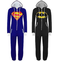 Stunning Unisex Mens And Womens Onesuit Superman & Batman Hooded Zip Front Jumpsuit