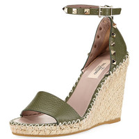 Valentino Garavani Rockstud Leather Espadrille Wedge Sandal
