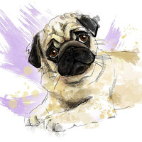 """Pug puppy portrait. Art print. Printable Instant Download 8 x 10"""" JPG file, Home decor. Funny sketch drawing."""
