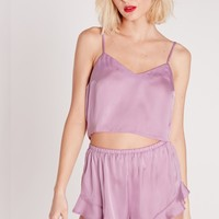Missguided - Satin Cropped Pajama Set Lilac
