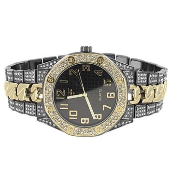 Men's Iced Out Black Gold Tone Rapper Cuban Link Metal Band Watch