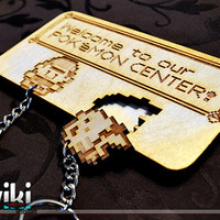 "Laser cut and engraved ""Pokémon Center"" wall key holder with keyrings included"