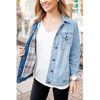 The Vail Denim Jacket (Denim/Taupe Flannel)