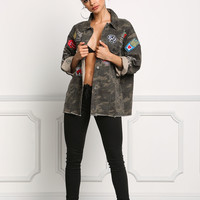 Camouflage Distressed & Patched Boxy Denim Jacket