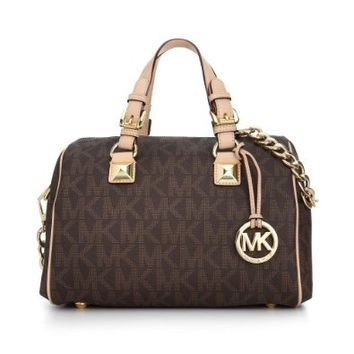 Michael Kors Women's Medium Grayson Monogram Vinyl Top-Handle Satchel (One Size US Women, Brown)