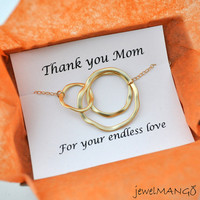mothers day gift, gift for mom, Triple Rings, Three Ring Necklace, Gold Linked Circles, Past Present Future, simple, modern, gold filled