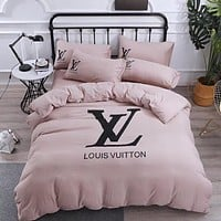 Luxury LV Home Blanket Quilt coverlet 2 Pillows Shams 4 PC Bedding Set