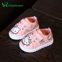 Claladoudou 2017 0-2Y Baby Shoes Soft Sole Toddler Walking Shoes Hello Kitty Red Pink White Sneakers For Girls Infant Girl Shoes