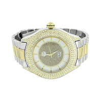 Mens 2 Tone Watches Gold White Techno Pave Joe Rodeo Simulated CZ Stones Jojino