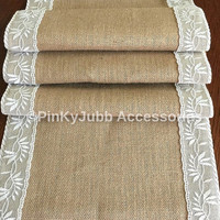rustic burlap table runner with ivory color lace trim, rustic wedding, engagement table decoration runner