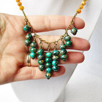 Tiered Emerald Green and Orange Speckled Glass & Orange Beaded Chain Long Bronze Statement Necklace, Boho Style