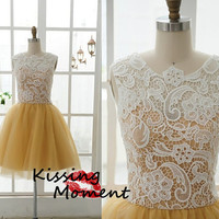 Elegant Yellow A-line Short Prom Dress New Arrival Princess A-line Organza Lace Prom Dresses Under 200, Homecoming dress,cocktail dress 9105