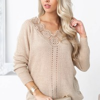 Lace Eyelet Long Sleeve Top