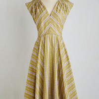 Pinup Long Sleeveless A-line Beauty at the Bungalow Dress in Cabana