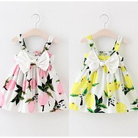 Summer Baby Girls Dress Sleeveless Floral Lemon Bowknot Sundress Clothes